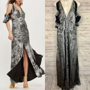 Topshop black ruffle cold shoulder maxi dress slit